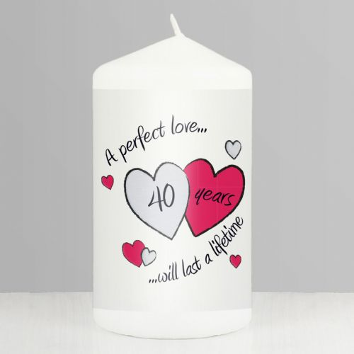 40th Anniversary Ruby Wedding Gift - Perfect Love Ruby Candle